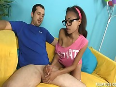 Teen pervert Isabella wants her stepbrother cream her face
