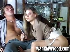Slutty blonde girl rubs her tits on meaty cock