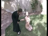 Tied slave gets her tits caned