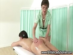 Femdom mature Lady Sonia spanking girl