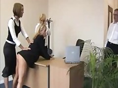CFNM boss lady punishing with spanks