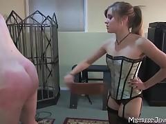 Petite blonde Femdom Mistress tames huge male slave