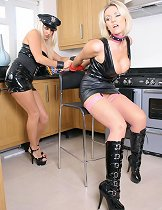 Gorgeous blonde police woman interrogates a naughty lesbian