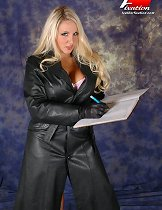 This gorgeous blonde is taking her leather coat off slowly and showing her lingerie