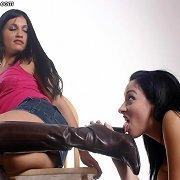 Brunette slavegirl licked boots