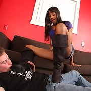Interracial footdom by trampling and worshipping brown boots