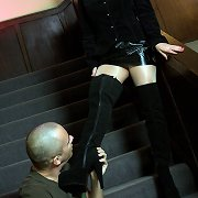 Sumissive man liked mistress` boots