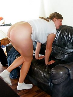 12 of Busty blonde gets caning