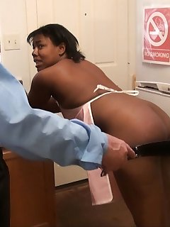 <!–-IMAGE_COUNT-–> of Ebony maid gets paddled