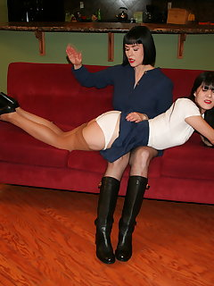 <!–-IMAGE_COUNT-–> of Over the knee hand spanking on couch