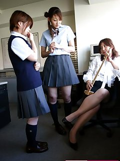 <!–-IMAGE_COUNT-–> of Spanking of Japanese schoolgirls