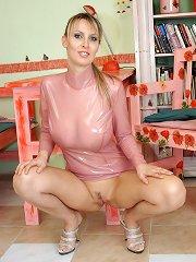 Busty Monika in tight pink latex dress