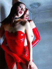 Emily Marilyn & Minx Addiction in skin tight red latex