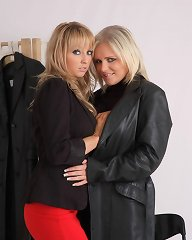 Horny shop assistant takes advantage of a leather coat shopper