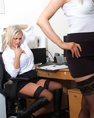These gorgeous office sluts love to wear their boots at work and have a little fun