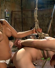 Maitresse Madeline, Goddess Isis Love and Mistress Bobbi Starr are worshiped and dish out sadistic femdom action to three worthless slaveboys in June\\\'