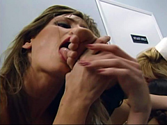 Sexy nurses go wild in an orgy and lick toes while fucking with dildos