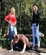 Girls humiliated boy in the camp