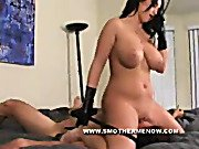 The nifty chick is sitting on a slaveboy