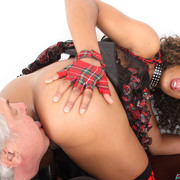 An old man licked mistress` asshole