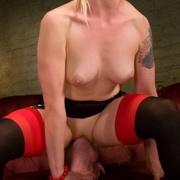 Mistress Lorelei Lee beats slave boy's balls before fucking him