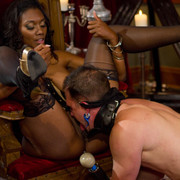 Divine Bitches - Pretty ebony pinches slave's dick