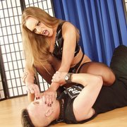Joanna sits on slave`s face