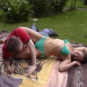 Outdoor facesit and wrestling