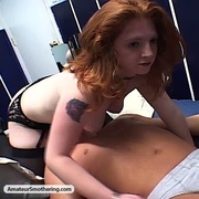 Amateur Smothering - redhead cutie in stockings