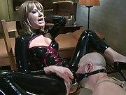 David confesses his masturbation fantasies to Maitresse Madeline and she takes advantage of his weaknesses with humiliation, strap-on and chastity.