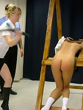 Brunette and blonde teens whipped