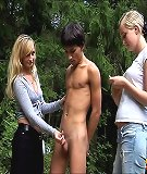 The pickuped boy was humiliated in the wood