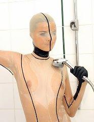 Sophies see thru latex uniform getting wet