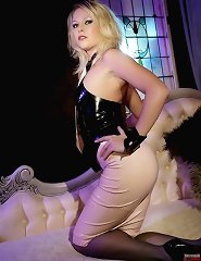 Hot blonde in rubber