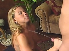 Tabitha rubs his cock very quick and he cums with a splash!