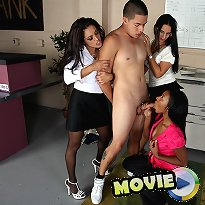 Chicks smothered chap and got to him jerk off