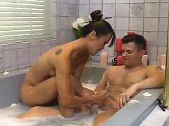 Naughty asian masseuse Mia plays with a soapy cock