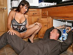 Ava Devine feels naughty and calls a plumber to fuck