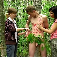 Outdoor humiliation and stroking