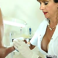 Medical woman milking man