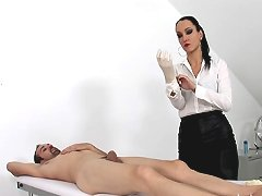 Fetish liza latex gloved handjob