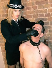 Uniformed Mistress Birch takes care of the insubordinate worm.