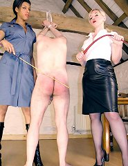 Two misresses punish a citizen for his unorderly behaviour.