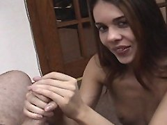 Flat chested long haired brunette jerks the girkin
