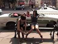Hot girl taken out in public, bound, displayed and fucked