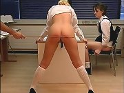 Blonde chick punished in the school