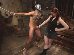 Claire masks totaleuro with a duck tape mask and clamps his balls