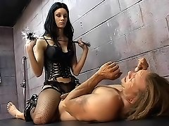 Masochistic stud submits to a nasty genital whipping