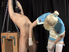 Sintress Skye takes a meat tenderizer and pummels her slave's rock hard cock