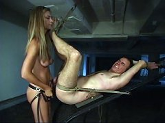 Malesub whipped and strapon fucked
